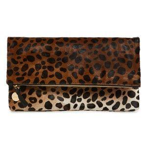 Clare V. Genuine Calf Hair Leopard Foldover Clutch